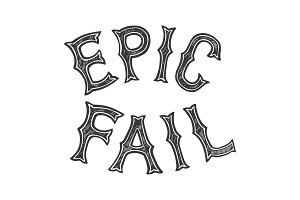 Epic fail words tattoo font vector