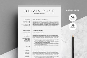 4 Pages Word Resume Template