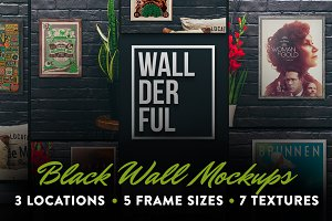 """Wallderful"" Black Wall Mockups"