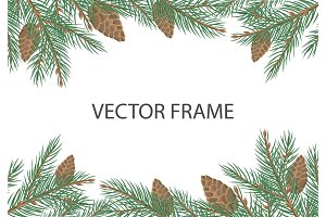 Vector Frame with Pine Tree Brunches