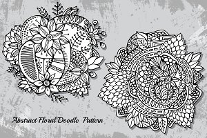 Hand draw doodle floral ornament