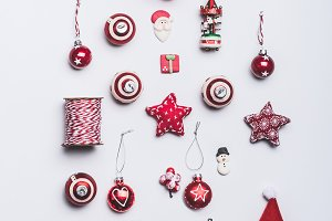 Christmas decorations flat lay