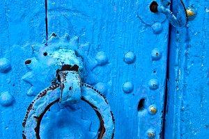 Detail of a blue door