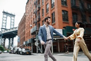 Love story in New York. Indian woman