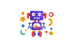 Cute funny robot, android character
