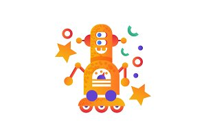 Cute robot on wheels, android
