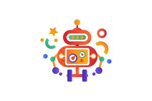 Cute funny robot on wheels, android