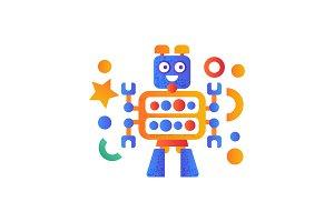 Cute robot character, artificial