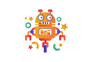 Cute funny robot android character
