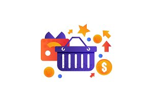 Shopping basket and credit card