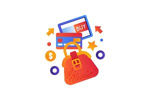 Online shopping symbols, female bag