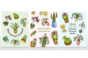 Set of cards cactus and cute