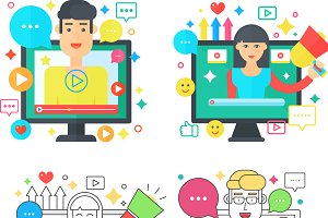 Video blogger man & woman concept.