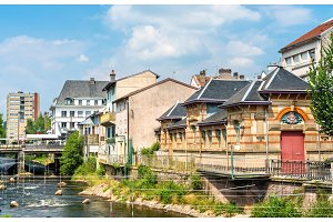 Typical french buildings in Epinal