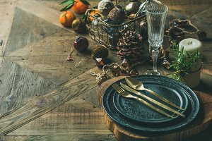 Christmas or New Year holiday table