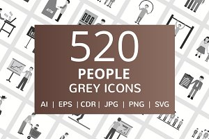 520 People Flat Greyscale Icons