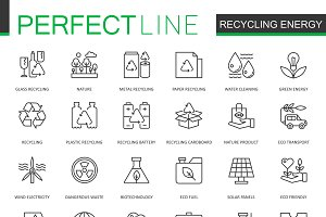 Recycling green energy line icons
