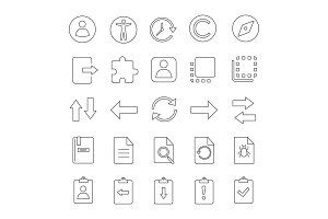 UI/UX linear icons set