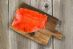 Prepared cold smoke red salmon