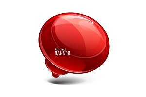 Red glossy banners or speech bubble