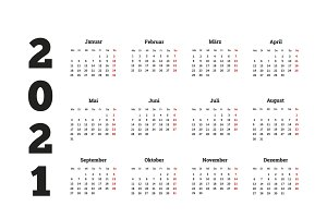 2021 year simple calendar on german