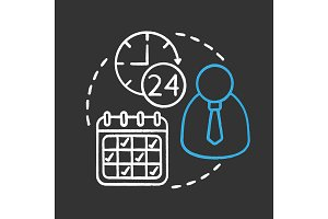 Time management chalk concept icon