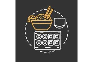 Sushi bar chalk concept icon