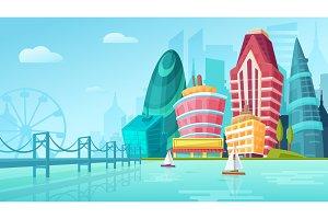 Vector cartoon city urban landscape