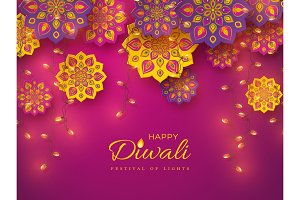 Diwali festival holiday design with