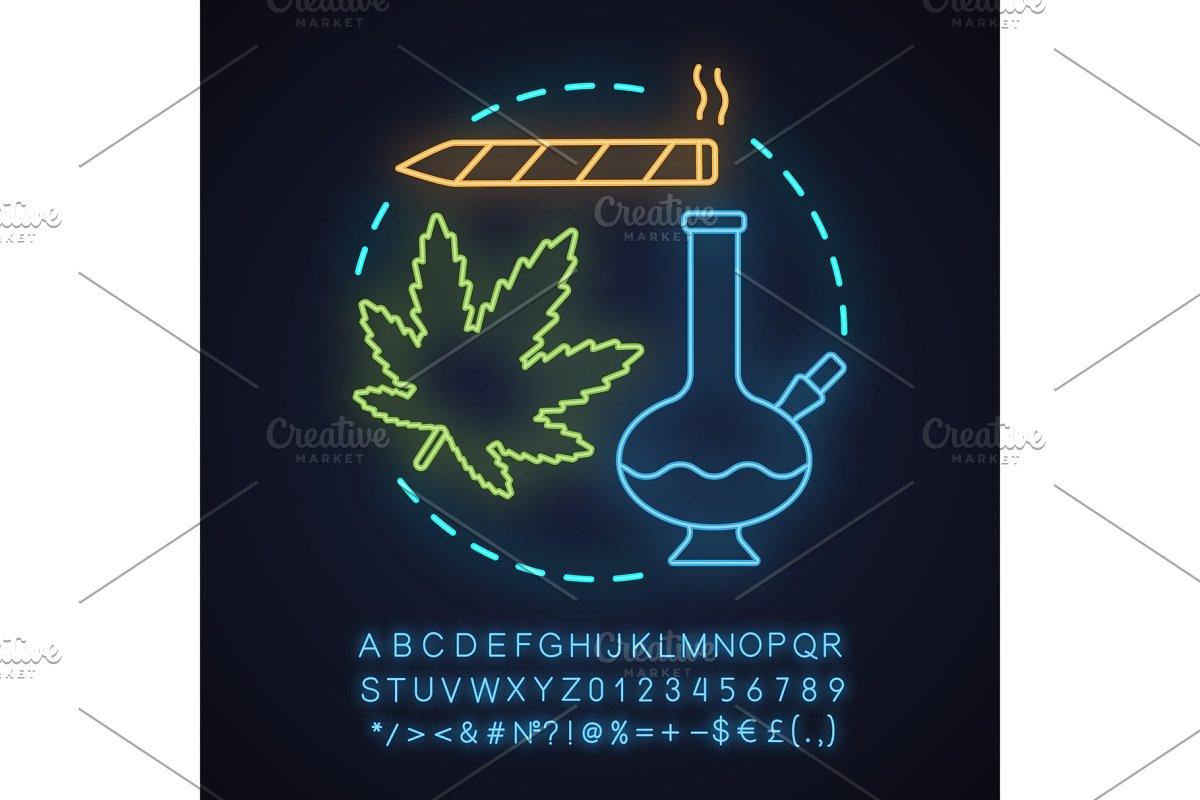 Marijuana Culture Neon Light Icon Icons Creative Market