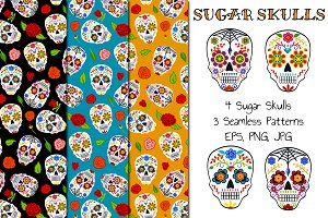 Sugar Skulls (cliparts+pattern)