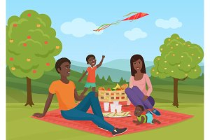 African family with kid on a picnic
