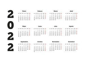 2022 year simple calendar in spanish
