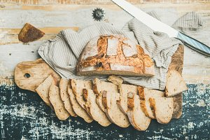 Flat-lay of sourdough wheat bread