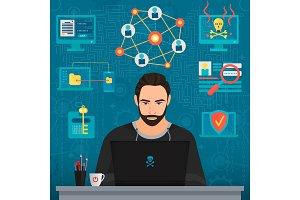 Bearded coder hacker concept