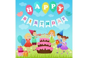 Kids birthday party card design