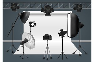Photo studio with shooting equipment