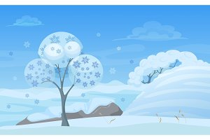 Cartoon winter forest landscape