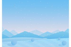 Winter simple mountains landscape.