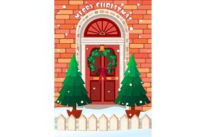 Christmas door with wreath card