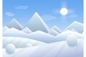 Winter Mountains cartoon landscape