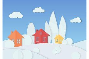 Christmas village paper landscape