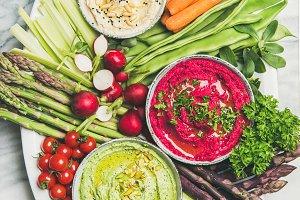 Healthy summer vegan snack plate