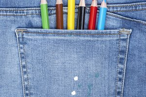 colored pencils in the back pocket