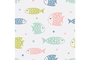 Childish seamless pattern with fish