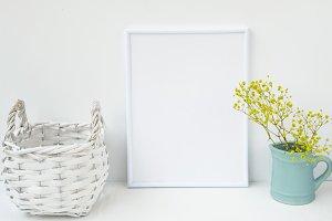 White frame mockup basket flowers