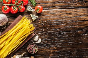 Tomatoes, spaghetti pasta and spices