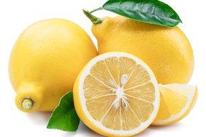 Lemon fruits, lemon slices with leav