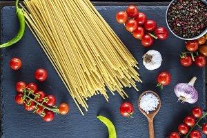 pasta spaghetti on black background