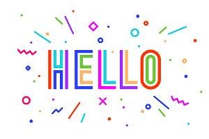 Hello. Banner, speech bubble, poster